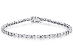 Solid White Gold Classic 2 Carat Diamond Tennis Bracelet