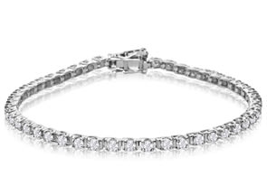10K White Gold Classic 3 Carat Diamond Tennis Bracelet