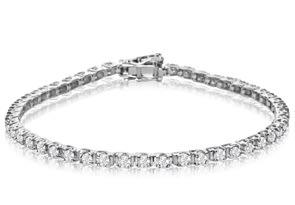 10K White Gold Classic 3 Carat Diamond Tennis Bracelet