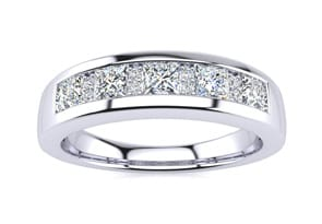 23 carat princess and round diamond wedding band in 14k white gold g h i2 i3 - Clearance Wedding Rings