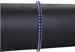 7 Inch 4 Carat Sapphire Tennis Bracelet In 10K White Gold