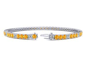 7 Inch 3 1/4 Carat Citrine And Diamond Alternating Tennis Bracelet In 10K White Gold