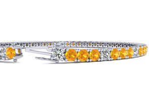 7 Inch 3 1/4 Carat Citrine And Diamond Graduated Tennis Bracelet In 10K White Gold