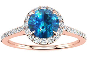 1 Carat Blue Diamond Engagement Ring With White Diamonds In 14K Rose Gold