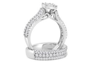 1 1/2 Carat Pave Diamond Bridal Set In 10K White Gold