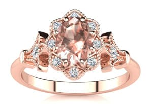 1 Carat Oval Shape Morganite and Halo Diamond Vintage Ring In 14 Karat Rose Gold
