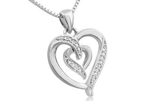 Diamond Accent Heart Necklace, 18 Inches. SPECIAL DEAL, BUY THE NECKLACE, GET THE EARRINGS FREE!