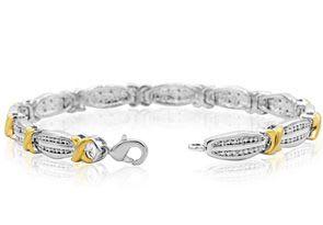 Two Tone 1/4 Carat Diamond X Tennis Bracelet, 7 Inches