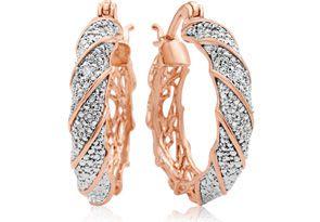 Two Diamond Hoop Earrings In Rose Gold Overlay, 1 Inch