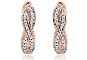 Diamond Accent Swirl Hoop Earrings In Rose Gold Overlay, 1/2 Inch