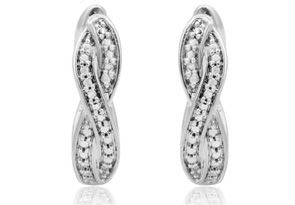 Diamond Accent Swirl Hoop Earrings In White Gold Overlay, 1/2 Inch