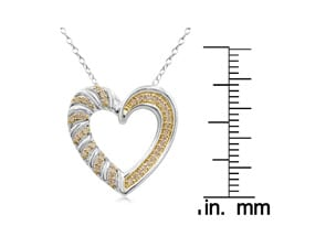 1/4 Carat Chocolate Bar Colored Champagne Diamond Heart Necklace In Sterling Silver, 18 Inches