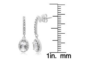 3/4ct Aquamarine and Diamond Oval Drop Earrings In Sterling Silver