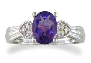 1.5ct Purple Amethyst and Diamond Ring