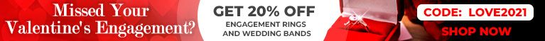 Missed Your Valentine's Engagement? Get 20% Off Engagement Rings and Wedding Bands - Code: Love2021 - Shop Now!