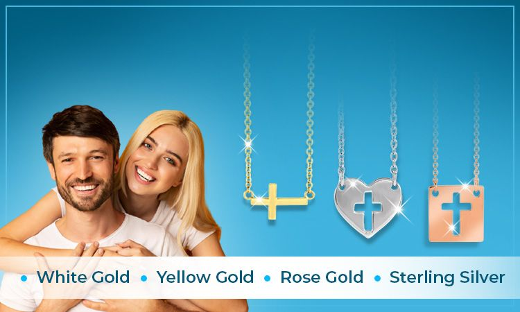 Cross And Heart Necklaces   White Gold • Yellow Gold • Rose Gold • Sterling Silver