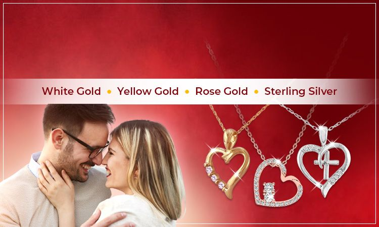 Diamond Heart Necklace   White Gold • Yellow Gold • Rose Gold • Sterling Silver