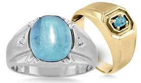 Men's Blue Topaz Rings
