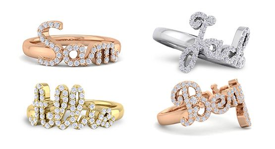 Diamond Name Rings