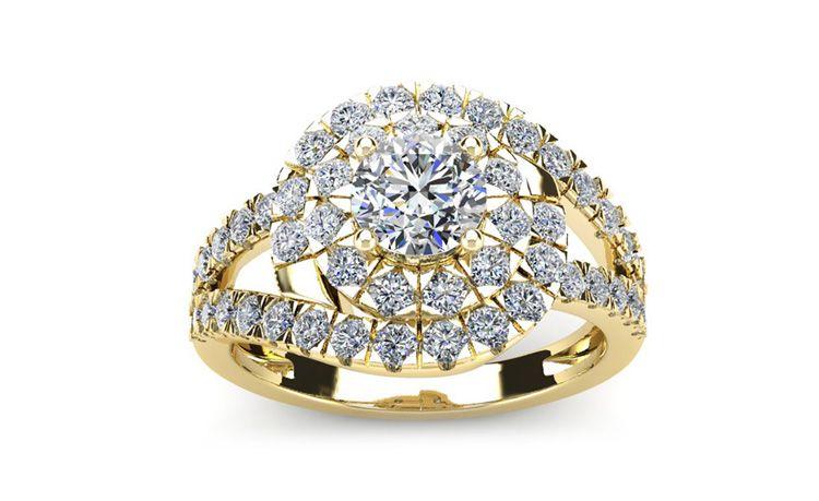 2 1/4 Carat Bypass Round Halo Diamond Engagement Ring in 14 Karat Yellow Gold