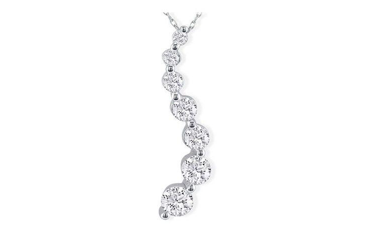 Curve Style 2 Carat 7-Diamond Journey Necklace in 14 Karat White Gold