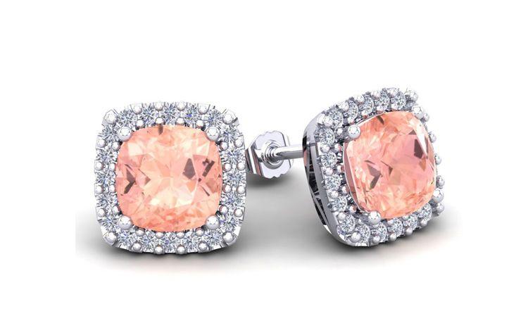 6 3/4 Carat Cushion Cut Morganite and Halo Diamond Stud Earrings In 14 Karat White Gold