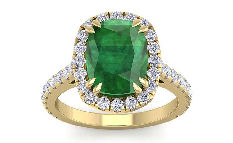 5 1/2 Carat Cushion Cut Zambian Emerald and Diamond Ring In 14Karat Yellow Gold
