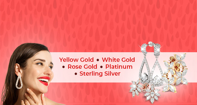 Diamond Drop Earrings | Yellow Gold • White Gold • Rose Gold • Platinum • Sterling Silver