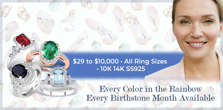 Gemstone Rings | From $29 • All Ring Sizes • Sterling 10K-14K | Every Color in the Rainbow Every Birthstone Month Available