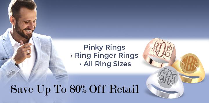Elegant Men's Signet Rings | Pinky Rings • Ring Finger Rings • All Ring Sizes | Save Up To 80% Off Retail