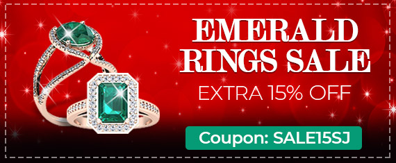 Emerald Rings Sale - Extra 15% Off - Coupon: Sale15SJ