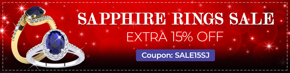 Sapphire Ring Sale, Extra 15% Off, Coupon Sale15SJ