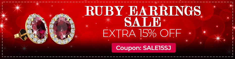 Ruby Earrings Sale, Extra 15% Off, Coupon Sale15SJ