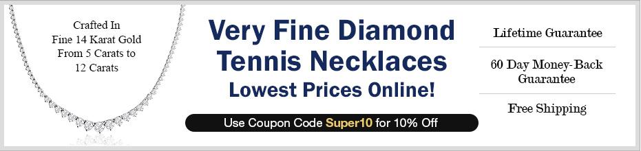 Very Fine Diamond Tennis Necklaces. Lowest Prices Online!
