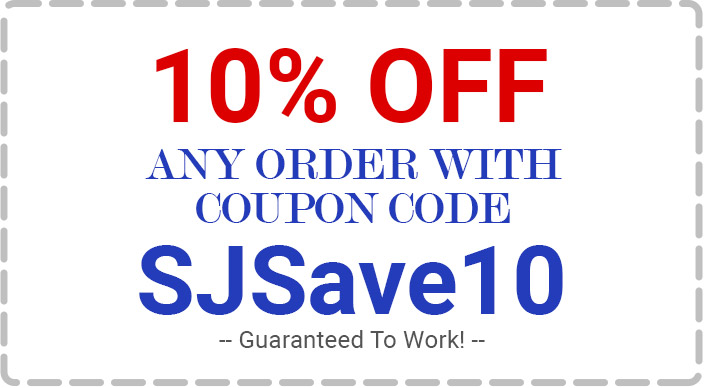 Save 10% Off any order with oupon code SJSave10