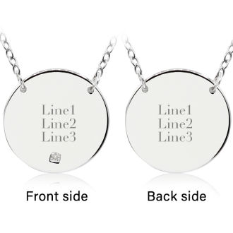 Sterling Silver Diamond Circle Necklace With Free Custom Engraving, 18 Inches