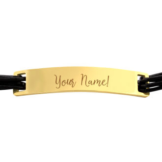 Mens Stainless Steel and Leather ID Bracelet In Yellow Gold Tone, With Free Custom Engraving