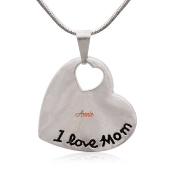'I Love Mom' Heart Necklace With Name Engraved